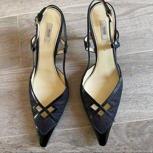 Prada slingbacks with patent leather and fabric